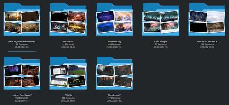 Unsere PS4-Screenshot-Bonanza vor dem Upload in unserem KDE-Ordner